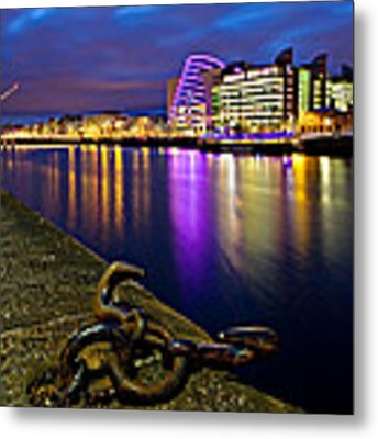 Dublin Docklands At Night / Dublin Metal Print by Barry O Carroll