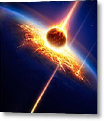 Earth In A  Meteor Shower Metal Print by Johan Swanepoel