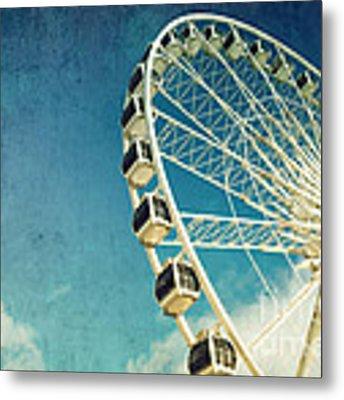 Ferris Wheel Retro Metal Print