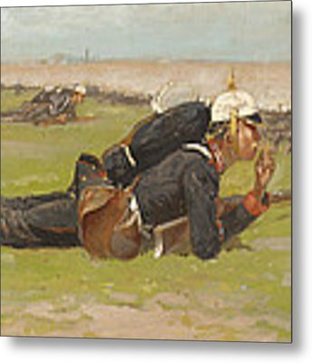 Field Drill For The Prussian Infantry  Metal Print by Frederic Remington