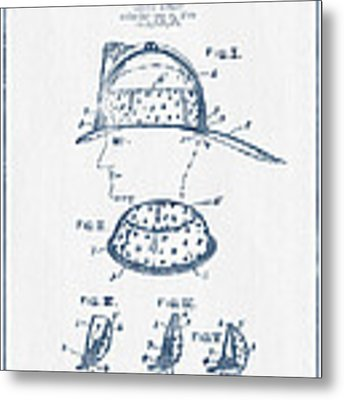 Firefighter Headgear Patent Drawing From 1926- Blue Ink Metal Print by Aged Pixel