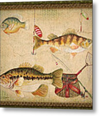 Fish Trio-a-greenborder Metal Print