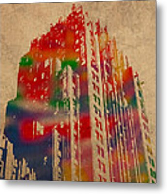 Fisher Building Iconic Buildings Of Detroit Watercolor On Worn Canvas Series Number 4 Metal Print