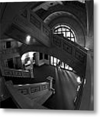 Fisheye View Of Chicago Cultural Center Marble Stairs Metal Print by Sven Brogren