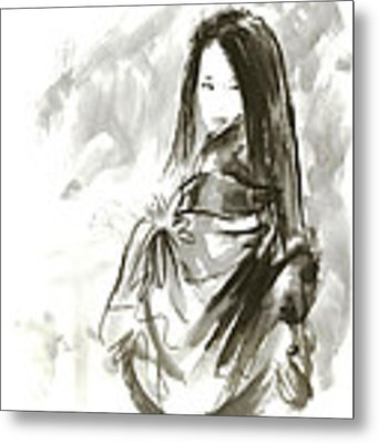 Geisha Japanese Woman Beauty Maiko Geiko Portrait Beautiful Face Kimono Original Japan Painting Art Metal Print by Mariusz Szmerdt