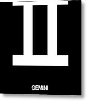 Gemini Zodiac Sign White Metal Print