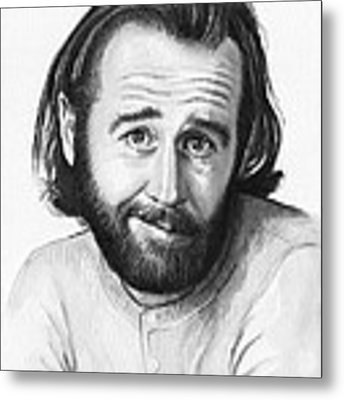 George Carlin Portrait Metal Print by Olga Shvartsur