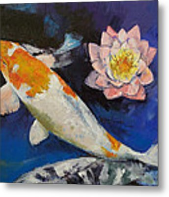 Gin Rin Koi And Water Lily Metal Print
