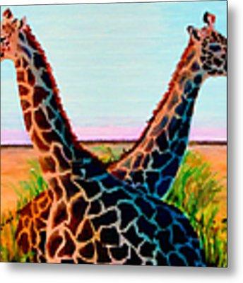 Giraffes Metal Print by Donna Proctor