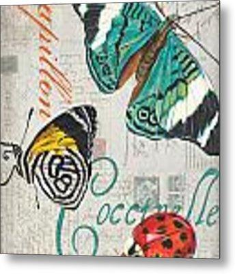 Grey Postcard Butterflies 2 Metal Print by Debbie DeWitt