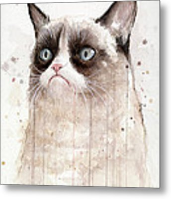 Grumpy Watercolor Cat Metal Print by Olga Shvartsur