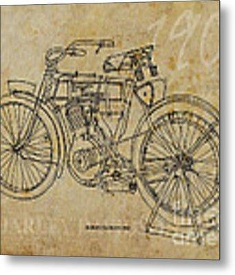 Harley Davidson 1905 Metal Print by Drawspots Illustrations