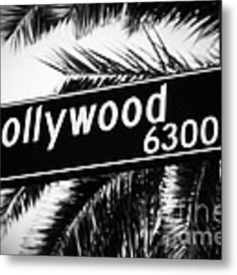Hollywood Boulevard Street Sign In Black And White Metal Print