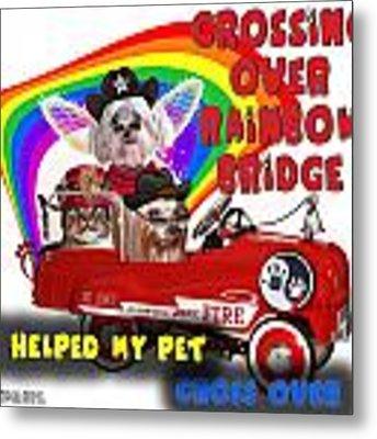 I Helped My Pet Cross Rainbow Bridge Metal Print by Kathy Tarochione