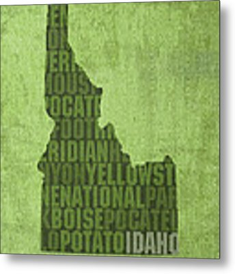 Idaho State Word Art Map On Canvas Metal Print by Design Turnpike