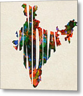 India Typographic Watercolor Map Metal Print by Inspirowl Design