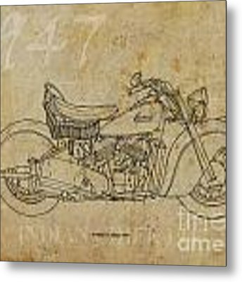 Indian Chief 1947 Metal Print by Drawspots Illustrations