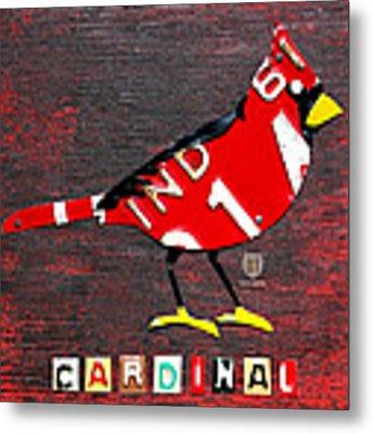 Indiana Cardinal Bird Recycled Vintage License Plate Art Metal Print