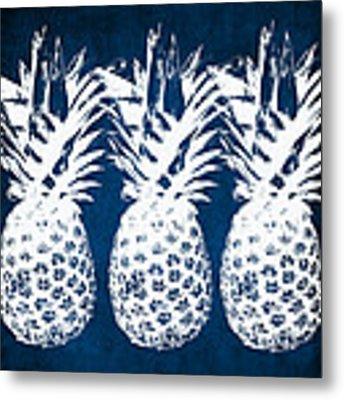 Indigo And White Pineapples Metal Print