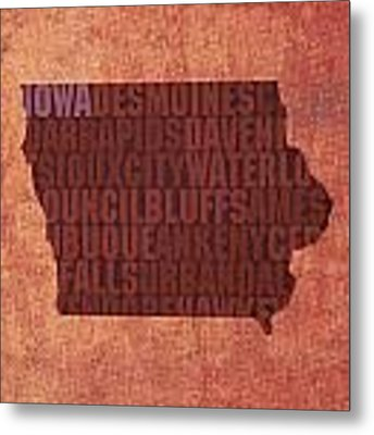 Iowa Word Art State Map On Canvas Metal Print by Design Turnpike