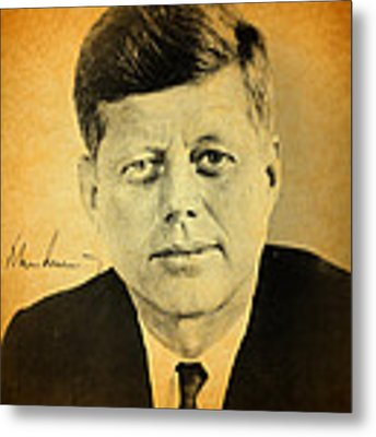 John F Kennedy Portrait And Signature Metal Print by Design Turnpike
