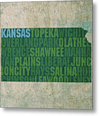 Kansas Word Art State Map On Canvas Metal Print by Design Turnpike