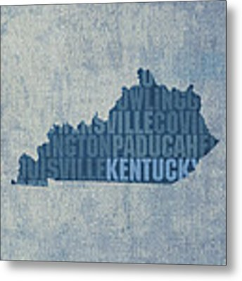 Kentucky Word Art State Map On Canvas Metal Print by Design Turnpike