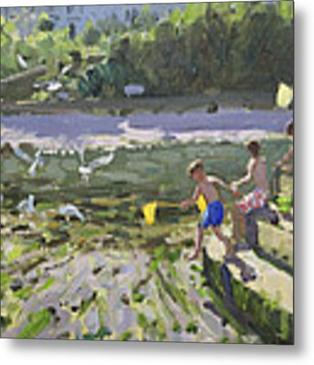 Kids And Seagulls Metal Print