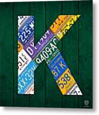 Letter K Alphabet Vintage License Plate Art Metal Print by Design Turnpike