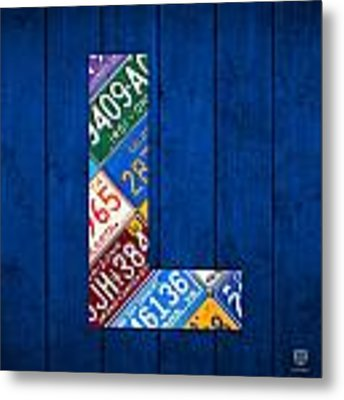 Letter L Alphabet Vintage License Plate Art Metal Print by Design Turnpike