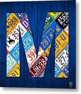 Letter M Alphabet Vintage License Plate Art Metal Print by Design Turnpike