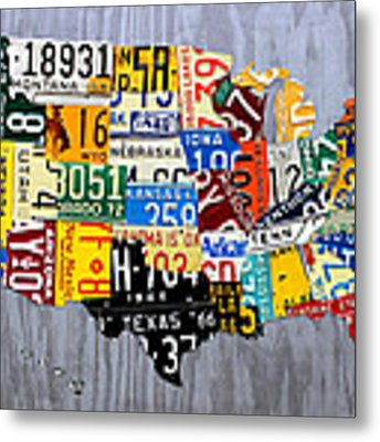 License Plate Map Of The United States - Muscle Car Era - On Silver Metal Print