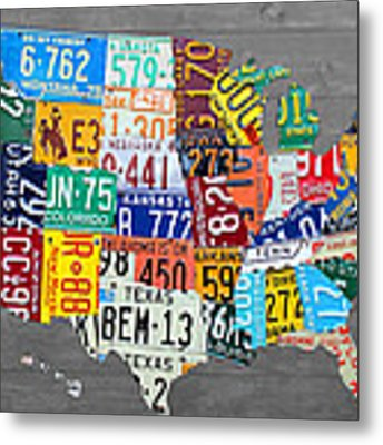 License Plate Map Of The United States On Gray Wood Boards Metal Print