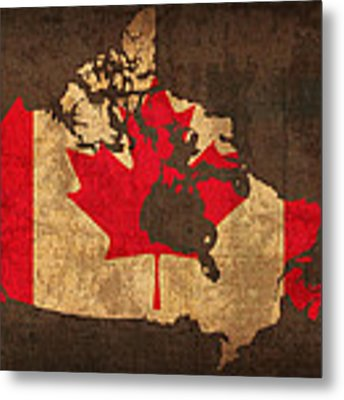 Map Of Canada With Flag Art On Distressed Worn Canvas Metal Print