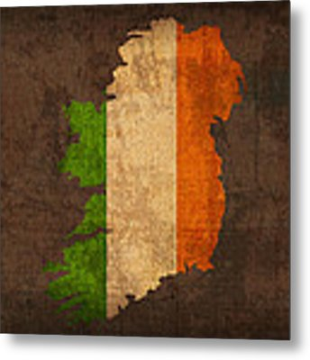 Map Of Ireland With Flag Art On Distressed Worn Canvas Metal Print by Design Turnpike