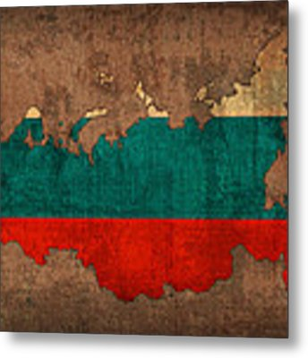 Map Of Russia With Flag Art On Distressed Worn Canvas Metal Print