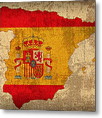 Map Of Spain With Flag Art On Distressed Worn Canvas Metal Print by Design Turnpike