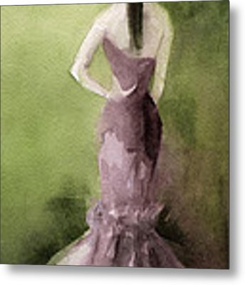 Mauve Evening Gown Fashion Illustration Art Print Metal Print by Beverly Brown