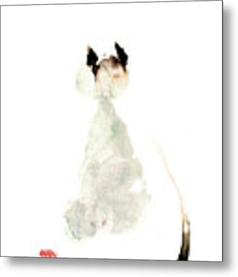 Meow Curious Cute Kitten Little Cat Watercolor Painting Funny Cats Metal Print
