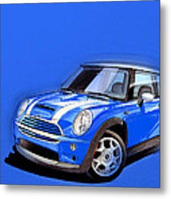 Mini Cooper S Blue Metal Print by Etienne Carignan