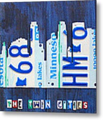 Minneapolis Minnesota City Skyline License Plate Art The Twin Cities Metal Print