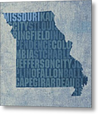 Missouri Word Art State Map On Canvas Metal Print by Design Turnpike