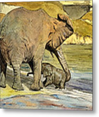 Mom And Cub Elephants Having A Bath Metal Print