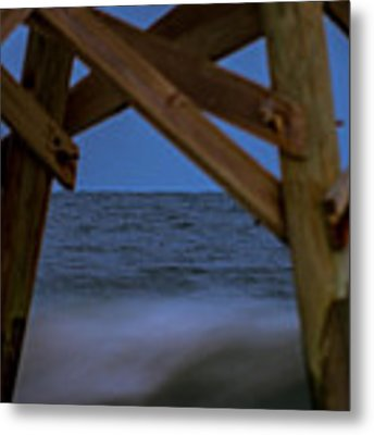 Moon Rise Under Pier Metal Print by Francis Trudeau