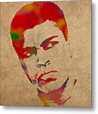Muhammad Ali Watercolor Portrait On Worn Distressed Canvas Metal Print