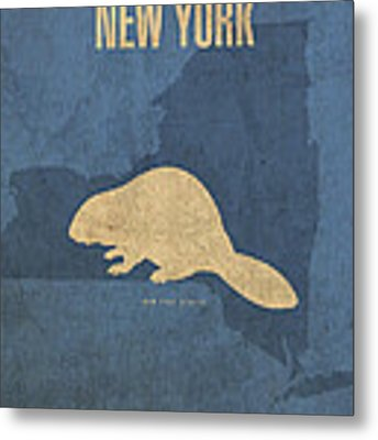 New York State Facts Minimalist Movie Poster Art  Metal Print