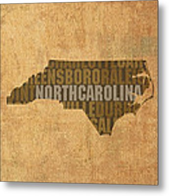 North Carolina Word Art State Map On Canvas Metal Print by Design Turnpike