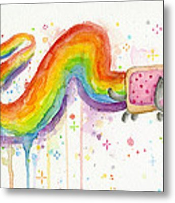 Nyan Cat Watercolor Metal Print by Olga Shvartsur