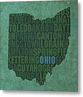 Ohio State Word Art On Canvas Metal Print