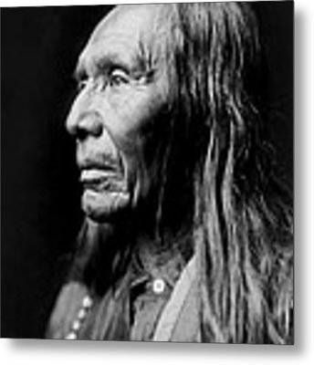 Old Nez Perce Man Circa 1910 Metal Print by Aged Pixel